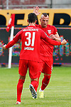 09.06.2020, xtgx, Fussball 3. Liga, Hallescher FC - SV Waldhof Mannheim emspor, v.l. Niklas Landgraf (Halle, 31), Toni Lindenhahn (Halle, 6) Jubel, Torjubel, jubelt ueber das Tor, celebrate the goal, celebration  beim Spiel in der 3. Liga, Hallescher FC - SV Waldhof Mannheim.<br /> <br /> Foto © PIX-Sportfotos *** Foto ist honorarpflichtig! *** Auf Anfrage in hoeherer Qualitaet/Aufloesung. Belegexemplar erbeten. Veroeffentlichung ausschliesslich fuer journalistisch-publizistische Zwecke. For editorial use only. DFL regulations prohibit any use of photographs as image sequences and/or quasi-video.