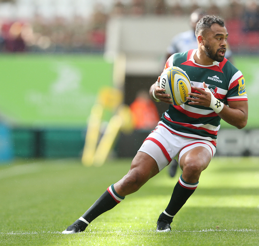 Telusa Veainu of Leicester Tigers in action during todays match<br /> <br /> Photographer Rachel Holborn/CameraSport<br /> <br /> Aviva Premiership - Leicester Tigers v Bath - Sunday 25th September 2016 - Welford Road - Leicester <br /> <br /> World Copyright &copy; 2016 CameraSport. All rights reserved. 43 Linden Ave. Countesthorpe. Leicester. England. LE8 5PG - Tel: +44 (0) 116 277 4147 - admin@camerasport.com - www.camerasport.com