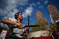 New York, USA. 1st May 2014.  Women dance during the annual 1 May day rally in New York.  Eduardo MunozAlvarez/VIEWpress