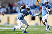 CHAPEL HILL, NC - NOVEMBER 23: Greg Ross #10 of the University of North Carolina intercepts the ball during a game between Mercer University and University of North Carolina at Kenan Memorial Stadium on November 23, 2019 in Chapel Hill, North Carolina.