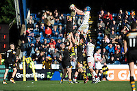 Michael Paterson of Sale Sharks outjumps Kearnan Myall of London Wasps during the Aviva Premiership match between London Wasps and Sale Sharks at Adams Park on Saturday 1st March 2014 (Photo by Rob Munro)