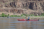 Howie Wallace admires basalt columns along the John Day river in the Clarno to Cottonwood section.