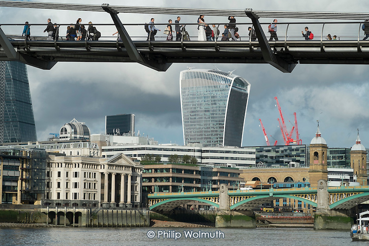 The Thames Millenium Bridge and the City of London Walkie-Talkie building.