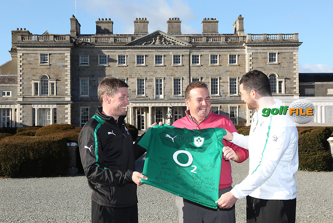 Irish rugby players Ronan O'Gara and Rob Kearney present Shane Lowry with a signed Rugby top at a preview event to the Irish open in Carton House..Picture: Fran Caffrey / www.golffile.ie ..
