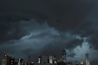 A heavy thunderstorm over Manhattan on July 3, 2014