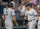 New York Yankees left fielder Brett Gardner (11), left, and center fielder Mike Tauchman (39), right, celebrate after they both scored on Tauchman's eighth inning two run home run against the Baltimore Orioles at Oriole Park at Camden Yards in Baltimore, MD on Monday, August 5, 2019.  It was Tauchman's second home run of the game.  The Yankees won the game 9 - 6.<br /> Credit: Ron Sachs / CNP<br /> <br /> <br /> (RESTRICTION: NO New York or New Jersey Newspapers or newspapers within a 75 mile radius of New York City)