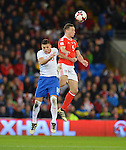 James Chester of Wales is challenged by Dusan Tadic of Serbia during the FIFA World Cup Qualifying match at the Cardiff City Stadium, Cardiff. Picture date: November 12th, 2016. Pic Robin Parker/Sportimage