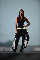 Jun. 28, 2012; Joliet, IL, USA: NHRA pro mod driver Leah Pruett poses for a portrait prior to the Route 66 Nationals at Route 66 Raceway. Mandatory Credit: Mark J. Rebilas-