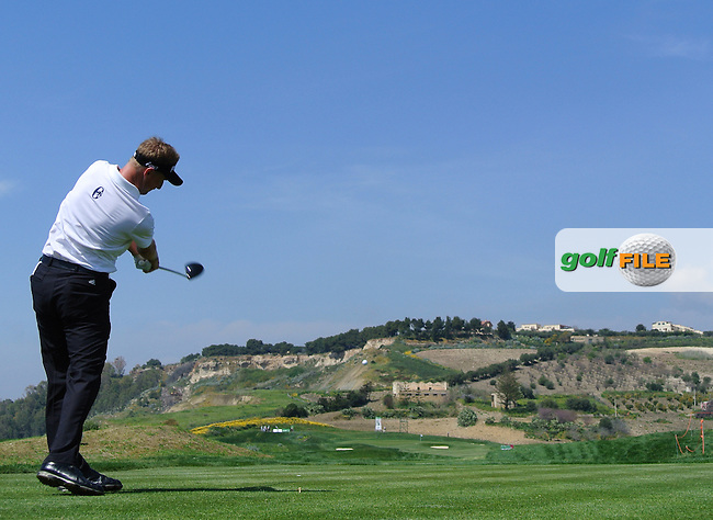 Simon Wakefield (ENG) on the 17th tee on Day 2 of the 2012 Sicilian Open at Verdura Golf and Spa Resort, Sicily, Italy....(Photo Jenny Matthews/www.golffile.ie)