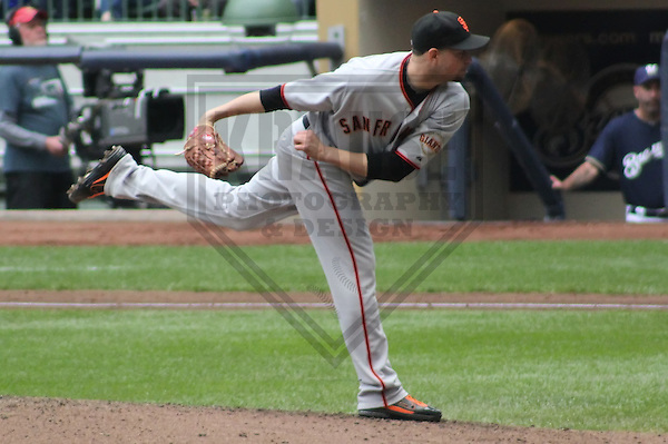 MILWAUKEE - MAY 2011: Jonathan Sanchez (57) of the San Francisco Giants during a game on May 28, 2011 at Miller Park in Milwaukee, Wisconsin. (Photo by Brad Krause) ....