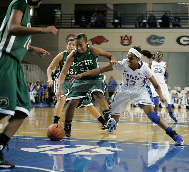 Sophomore guard Bria Goss chases the ball in the second half of the UK vs USC Upstate in Memorial Colosseum in Lexington, Ky., on Sunday, November 25th, 2012. Photo by Logan Douglas | Staff.