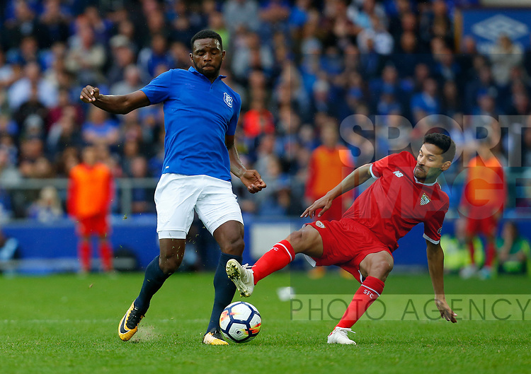Everton's Cuco Martina (L) in action with Sevilla's Jesus Navas during the pre season friendly match at Goodison Park Stadium, Liverpool. Picture date 6th August 2017. Picture credit should read: Paul Thomas/Sportimage