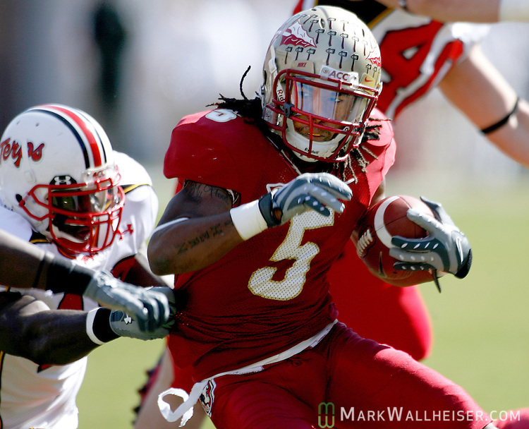 FSU wide receiver turned tailback, Preston Parker (5), shakes off Maryland tacklers in the first half of the Florida State vs Maryland game at Doak S. Campbell Stadium in Tallahassee November 17, 2007.(Mark Wallheiser/TallahasseeStock.com)