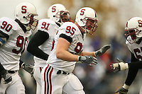 11 November 2006: Chris Horn makes an interception during Stanford's 20-3 win over the Washington Huskies in Seattle, WA. Udeme Udofia, Pannel Egboh and Allen Smith are also pictured.