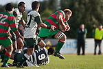 Maka Tatafu leaps out of Samisoni Fisilau's tackle. Counties Manukau Premier Club Rugby game between Wauku & Manurewa played at Waiuku on Saturday June 6th. Manurewa won 36 - 31 after leading 14 - 12 at halftime.