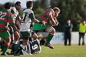 Maka Tatafu leaps out of Samisoni Fisilau's tackle. Counties Manukau Premier Club Rugby game between Wauku & Manurewa played at Waiuku on Saturday June 6th. Manurewa won 36 - 31 after leading 14 - 12 at halftime.
