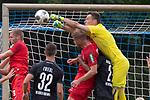 20.07.2019, Heinz Detmar Stadion, Lohne, Interwetten Cup 1. FC Köln vs SV Werder Bremen<br /> <br /> im Bild / picture shows <br /> <br /> Jiri Pavlenka (Werder Bremen #01)^<br /> trifft Theodor Gebre Selassie (Werder Bremen #23) am KOpf <br /> <br /> Foto © nordphoto / Kokenge
