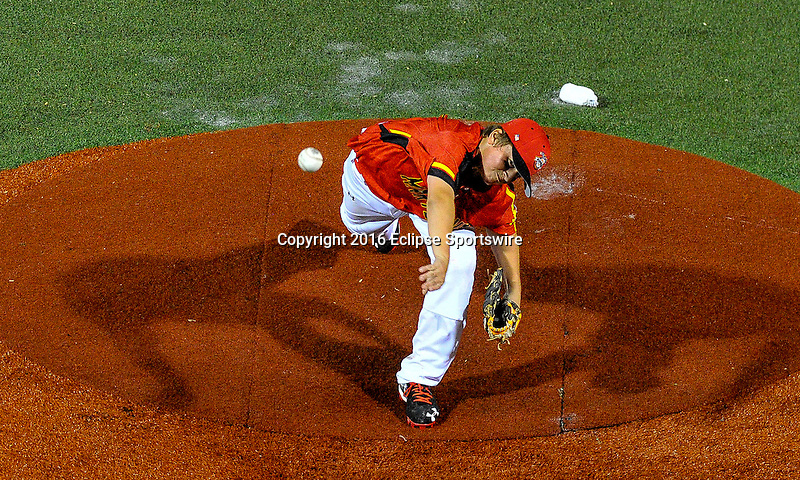 ABERDEEN, MD - AUGUST 01: Jack Snyder #21 of Bel Air (MD) pitches against Honolulu (HI) during a game between Pacific Southwest and Maryland during the Cal Ripken World Series at The Ripken Experience Powered by Under Armour on August 1, 2016 in Aberdeen, Maryland. (Photo by Ripken Baseball/Eclipse Sportswire/Getty Images)