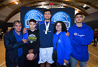 Levic Kerr with family after the 2019 Schick AA Boys' Secondary Schools Basketball National Championship final between St Kentigern and Rosmini College at the Central Energy Trust Arena in Palmerston North, New Zealand on Saturday, 5 October 2019. Photo: Dave Lintott / lintottphoto.co.nz