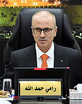 Palestinian Prime Minister Rami Hamdallah chairs a meeting with council of Ministers in the West Bank city of Ramallah on December 11, 2018. . Photo by Prime Minister Office