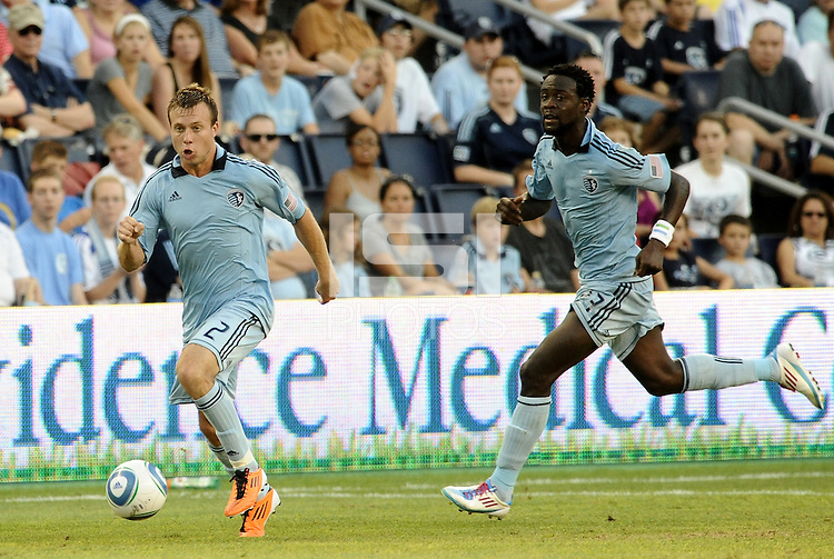 Michael Harrington (2)  Kei Kamara Sporting KC in action... Sporting Kansas City defeated Real Salt Lake 2-0 at LIVESTRONG Sporting Park, Kansas City, Kansas.