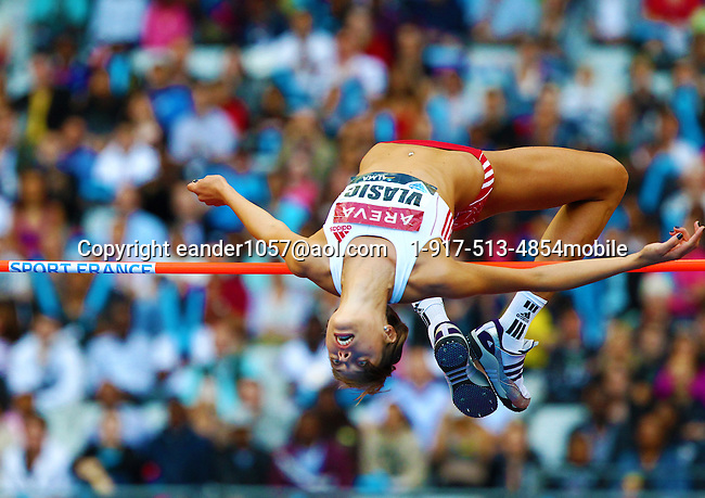 Blanka Vlasic won the high jump with a leap of 2.02m at the Samsung Diamond League meet in Paris, France on Friday, July 16, 2010. Photo by Errol Anderson