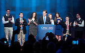 The family of former United States Senator Rick Santorum (Republican of Pennsylvania), a candidate for the 2012 Republican Party nomination for President of the United States, surrounds him as he prepares to make remarks at the 2012 CPAC Conference at the Marriott Wardman Park Hotel in Washington, D.C. on Friday, February 10, 2012..Credit: Ron Sachs / CNP