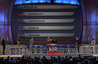 Group D is shown on the display during the FIFA Final Draw for the FIFA World Cup 2010 South Africa held at the Cape Town International Convention Centre (CTICC) on December 4, 2009.