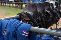 A Thai Flag on display as a shirt lays with Saddles before the Final in the King Power Foxes paddock at The Guards Polo Club during the Cartier Queens Cup Final match between King Power Foxes and Dubai Polo Team at the Guards Polo Club, Smith's Lawn, Windsor, England on 14 June 2015. Photo by Andy Rowland.