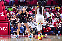 College Park, MD - NOV 13, 2017: South Carolina Gamecocks forward A'ja Wilson (22) plays defense against Maryland Terrapins guard Kaila Charles (5) during game between No. 4 ranked South Carolina and the No. 15 Maryland Terrapins at the XFINITY Center in College Park, MD. The Gamecocks defeated Maryland 94-86.  (Photo by Phil Peters/Media Images International)