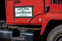 A sign on the cranberry-growing family's detrasher proudly displays the family's name.