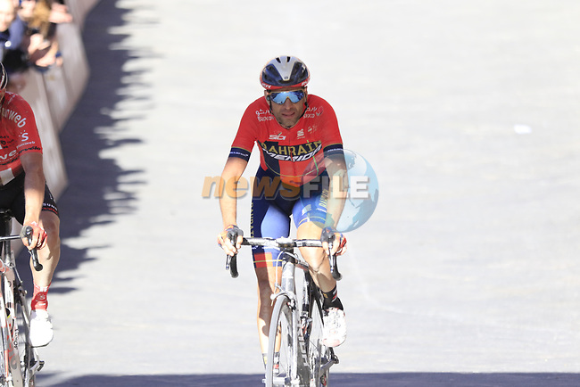 Vincenzo Nibali (ITA) Bahrain-Merida crosses the finish line of Strade Bianche 2019 running 184km from Siena to Siena, held over the white gravel roads of Tuscany, Italy. 9th March 2019.<br /> Picture: Eoin Clarke | Cyclefile<br /> <br /> <br /> All photos usage must carry mandatory copyright credit (© Cyclefile | Eoin Clarke)