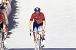 Vincenzo Nibali (ITA) Bahrain-Merida crosses the finish line of Strade Bianche 2019 running 184km from Siena to Siena, held over the white gravel roads of Tuscany, Italy. 9th March 2019.<br /> Picture: Eoin Clarke | Cyclefile<br /> <br /> <br /> All photos usage must carry mandatory copyright credit (&copy; Cyclefile | Eoin Clarke)