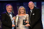 Bronwyn Andrews, Teachers Musical Society, Dublin who won Best Actress / Gilbert Section for her performance as 'Mrs. Lovett in Sweeney Todd'' receiving the trophy from on  left, Colm Moules, President, AIMS and Seamus Power, Vice-President at the Association of Irish Musical Societies annual awards in the INEC, KIllarney at the weekend.<br /> Photo: Don MacMonagle -macmonagle.com<br /> <br /> <br /> <br /> repro free photo from AIMS<br /> Further Information:<br /> Kate Furlong AIMS PRO kate.furlong84@gmail.com