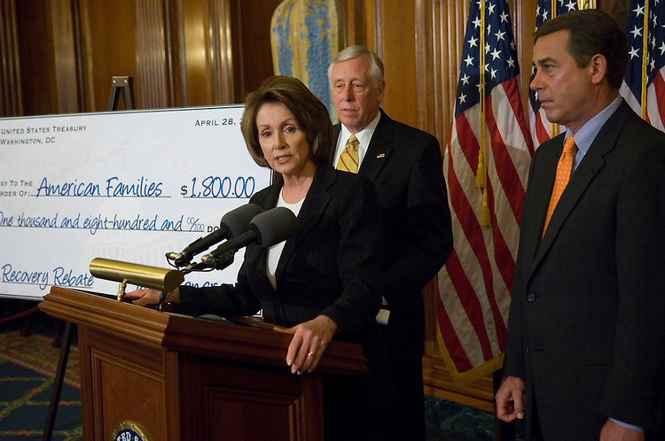 "WASHINGTON, DC - April 25: House Speaker Nancy Pelosi, D-Calif., House Majority Leader Steny Hoyer, D-Md., and House Minority Leader John A. Boehner, R-Ohio, during a news conference on tax rebates. As congressional Democrats debate when and how to advance a second economic stimulus package, President Bush announced Friday that tax rebates approved earlier this year will start going out Monday. ""It's obvious our economy is in a slowdown. Fortunately, we recognized the signs early and took action,"" Bush said at the White House. ""On Monday, the Treasury Department will begin delivering the first of these tax rebates by direct deposit. During the first week alone nearly 7.7 million Americans will receive their tax rebates electronically. Then on May 9th, the IRS will begin mailing checks to millions more across America,"" he said. Working with unusual speed and bipartisanship, House leaders struck a deal with the administration on Jan. 24 and cleared the first stimulus package (PL 110-185) on Feb. 7 in a bid to get cash into the hands of American consumers quickly in hopes they would spend it. Consumer spending accounts for roughly 70 percent of gross domestic product. (Photo by Scott J. Ferrell/Congressional Quarterly)"
