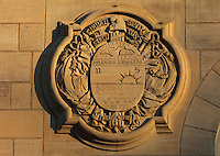Relief of the coat of arms of a province of Cuba, on the facade of the Fondation Rosa Abreu de Grancher, designed by Albert Laprade, 1883 - 1978, and inaugurated in 1932, to house Cuban students, in the Cite Internationale Universitaire de Paris, in the 14th arrondissement of Paris, France. The CIUP or Cite U was founded in 1925 after the First World War by Andre Honnorat and Emile Deutsch de la Meurthe to create a place of cooperation and peace amongst students and researchers from around the world. It consists of 5,800 rooms in 40 residences, accepting another 12,000 student residents each year. Picture by Manuel Cohen. L'autorisation de reproduire cette œuvre doit etre demandee aupres de l'ADAGP/Permission to reproduce this work of art must be obtained from DACS.