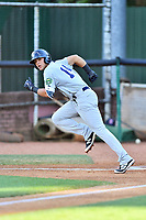 Pulaski Yankees center fielder Pablo Olivares (14) runs to first base during a game against the Elizabethton Twins at Joe O'Brien Field on June 27, 2016 in Elizabethton, Tennessee. The Yankees defeated the Twins 6-4. (Tony Farlow/Four Seam Images)