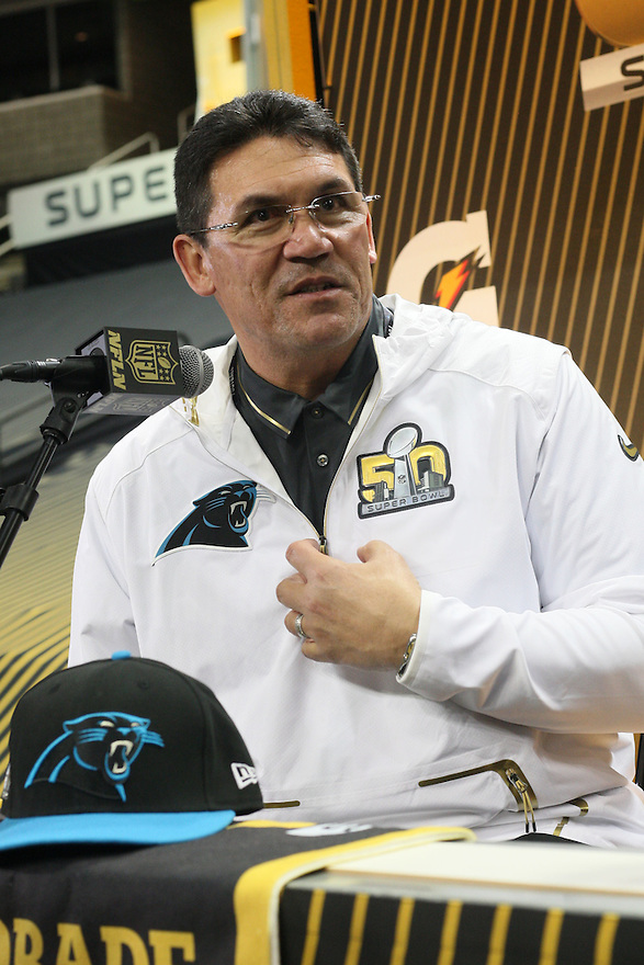 February 01, 2016: Carolina Panthers Head Coach Ron Rivera being interviewed during Super Bowl 50 Opening Night, introducing the Carolina Panthers to the global media at the SAP Center in San Jose, Ca. (Photo by Rob Holt/ICON Sportswire).