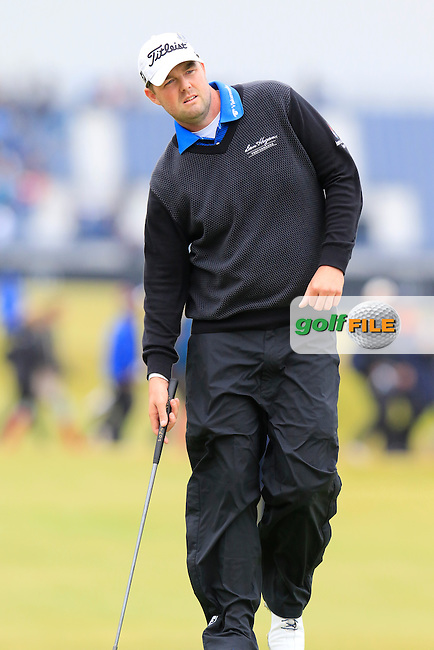 Marc Leishman (USA) at the 17th green during Monday's Final Round of the 144th Open Championship, St Andrews Old Course, St Andrews, Fife, Scotland. 20/07/2015.<br /> Picture Eoin Clarke, www.golffile.ie