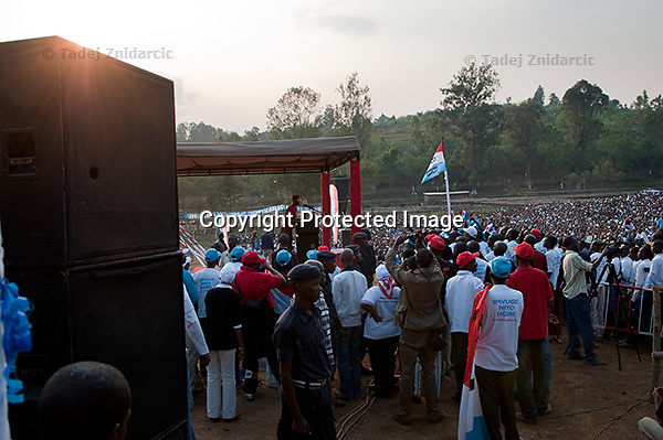 Rwandan president Paul Kagame speaks during a presidential campaign rally in Nyaruguru District, Rwanda. July 28 2010