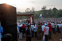 Rwandan president Paul Kagame speaks during a presidential campaign rally in Nyaruguru District, Rwanda. July 28 2010