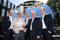 Businessmen from Nottingham Accountants Ernst & Young are photographed at the Sky Mirror outside Nottingham Playhouse