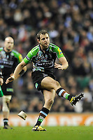Nick Evans of Harlequins takes a penalty kick during the Aviva Premiership match between Harlequins and Saracens at Twickenham on Tuesday 27 December 2011 (Photo by Rob Munro)
