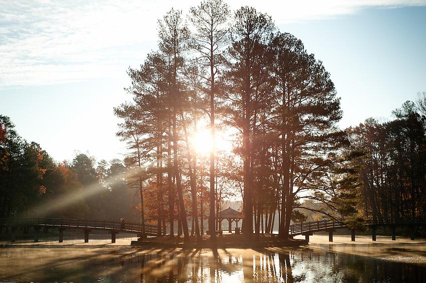 Sunrise over the University of Richmond lake.