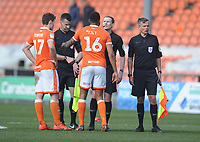 Blackpool's Curtis Tilt and Matthew Virtue protest to referee Peter Wright after the final whistle<br /> <br /> Photographer Kevin Barnes/CameraSport<br /> <br /> The EFL Sky Bet League One - Blackpool v Peterborough United - Saturday 13th April 2019 - Bloomfield Road - Blackpool<br /> <br /> World Copyright &copy; 2019 CameraSport. All rights reserved. 43 Linden Ave. Countesthorpe. Leicester. England. LE8 5PG - Tel: +44 (0) 116 277 4147 - admin@camerasport.com - www.camerasport.com
