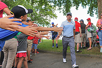 Paul Casey (GBR) high fives fans enroute to 10th tee during Saturday's round 3 of the World Golf Championships - Bridgestone Invitational, at the Firestone Country Club, Akron, Ohio. 8/5/2017.<br /> Picture: Golffile | Ken Murray<br /> <br /> <br /> All photo usage must carry mandatory copyright credit (&copy; Golffile | Ken Murray)
