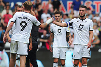 Oli McBurnie celebrates at full time with Matt Grimes of Swansea City during the pre-season friendly match between Swansea City and Atalanta at the Liberty Stadium in Swansea, Wales, UK. Saturday, 27 July 2019