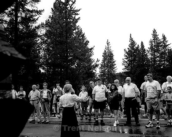 Tour group at the Old Faithful Lodge.<br />