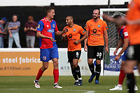 Curtis Weston of Chesterfield scores the first goal for his team and celebrates during Dagenham & Redbridge vs Chesterfield, Vanarama National League Football at the Chigwell Construction Stadium on 15th September 2018