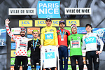 Marc Soler (ESP) Movistar Team the overall title and the White Jersey from Simon Yates (GBR) Mitchelton-Scott with Gorka Izagirre (ESP) Bahrain-Merida in 3rd place, Thomas De Gendt (BEL) Lotto-Soudal wins the Polka Dot Jersey, Tim Wellens (BEL) Lotto-Soudal wins the Green Jersey at the end of Stage 8 of the 2018 Paris-Nice running 110km from Nice to Nice, France. 11th March 2018.<br /> Picture: ASO/Alex Broadway | Cyclefile<br /> <br /> <br /> All photos usage must carry mandatory copyright credit (&copy; Cyclefile | ASO/Alex Broadway)